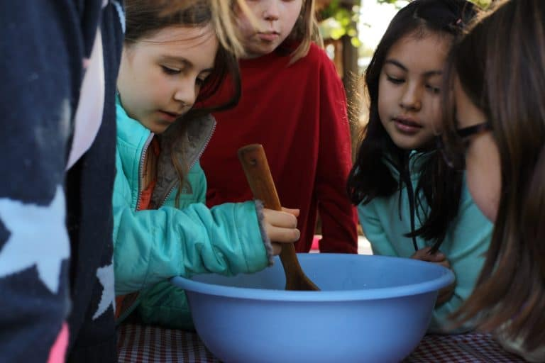 Grade 3 gathers to make bread together