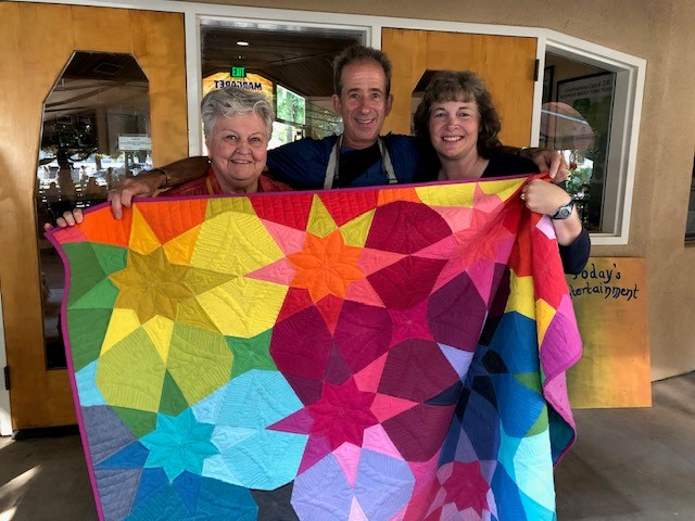Quilt Raffle Winner(Arthur Zwern) and Maker-(Stacy Donohue) and first quilt maker-Patricia Wood