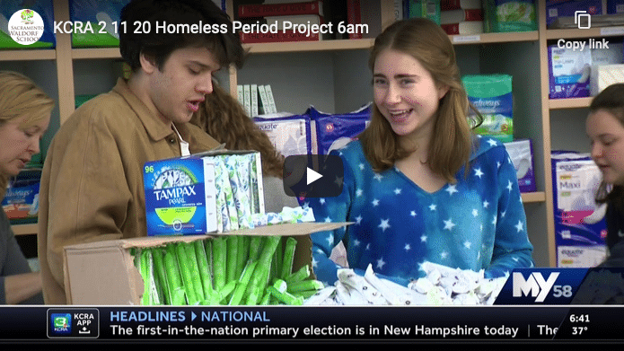February 11, 2020, 6:00am's KXTV report on the Homeless Period Project. Each year, our High School students have a donation drive for products to create bags to donate to this Sacramento non-profit.