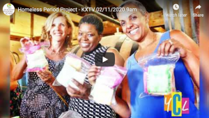 February 11, 2020, 9:00am's KXTV report on the Homeless Period Project. Each year, our High School students have a donation drive for products to create bags to donate to this Sacramento non-profit.