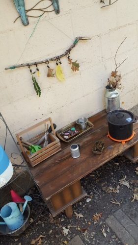 Child's pretend cook kitchen in the outdoor play yard